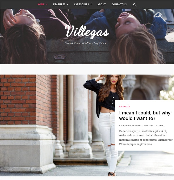 Minimal Personal WordPress Blog Theme $44