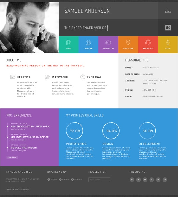 Resume Portfolio Blog WordPress Theme $44
