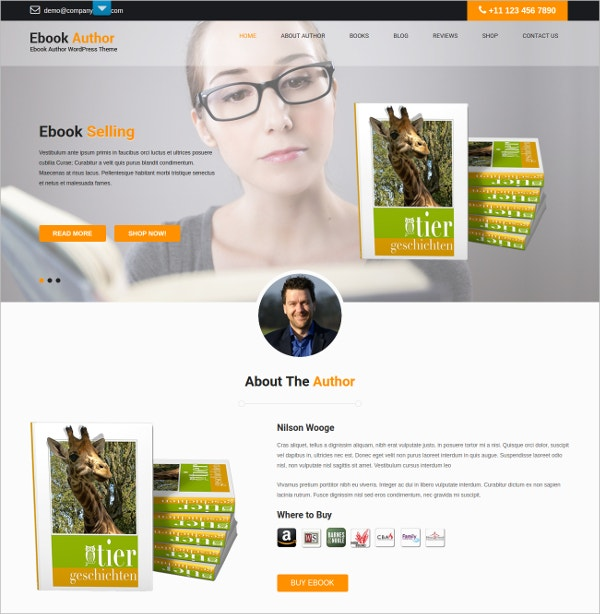 ebook Author WordPress Blog Theme $48