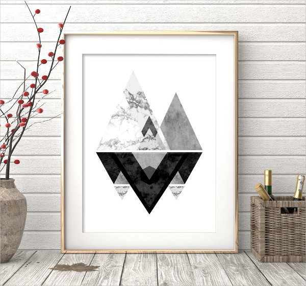 Black And White Geometric Wall Art