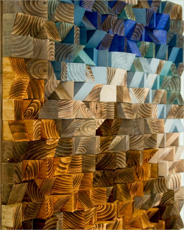 reclaimed wood geometric wall art