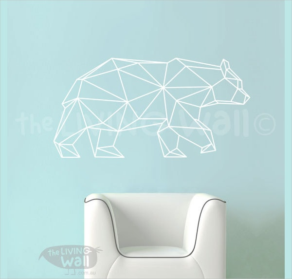 Geometric Bear Wall Decal Art