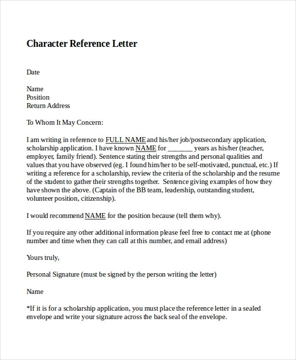 12  sample character reference letter templates