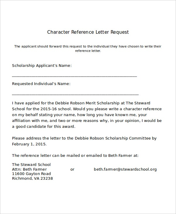 Character Reference Letter For Scholarship  Sample Character Reference Letter