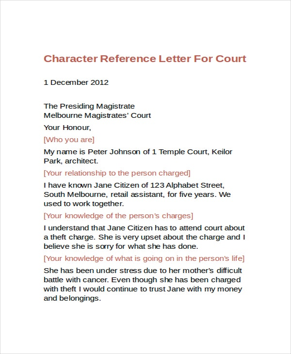 12 sample character reference letter templates pdf doc for Character reference letter template for court uk