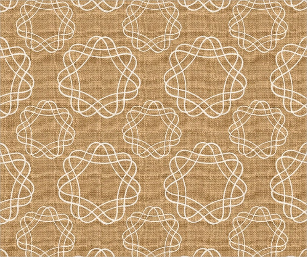Burlap And White Geometric Flowers Wall Art