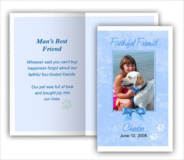 Blue Pet Memorial Card Template