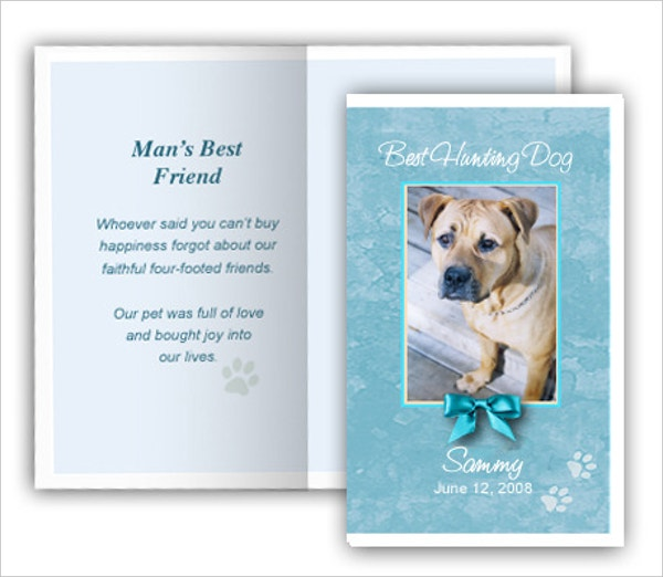 Teal Pet Card Memorial Template