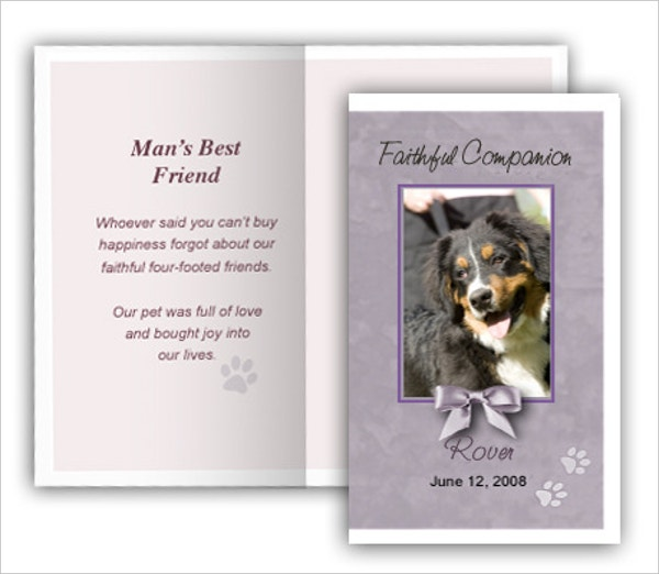 Gray Pet Memorial Card Template