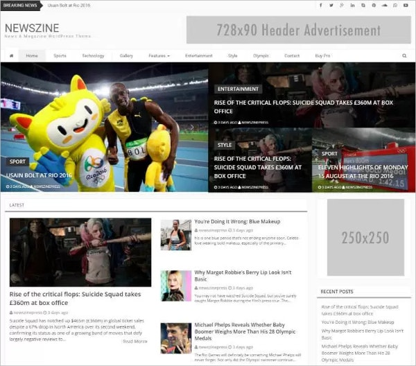 Free News and Magazine WordPress Theme