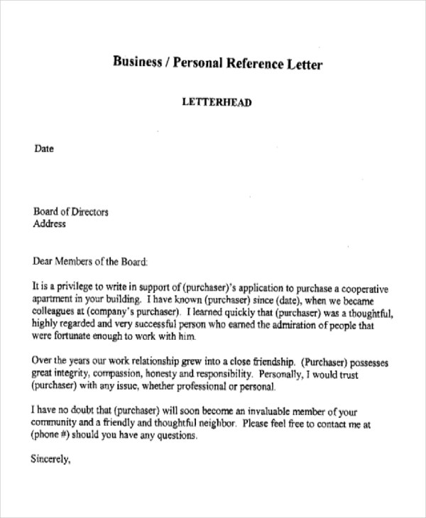 6 Business Reference Letter Templates Free Sample Example – Reference Letter