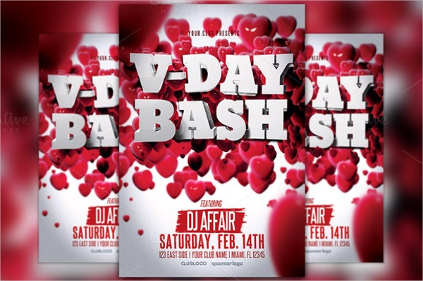 valentines day 3d party flyer