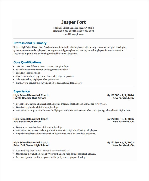 Sample basketball coach resume