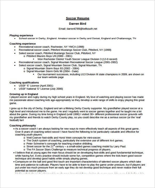 soccer coach resume - Coaching Resume Template