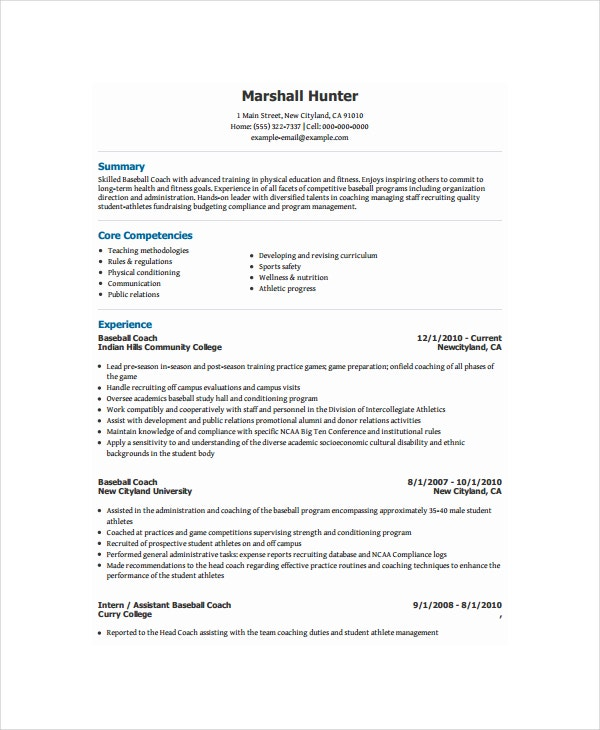 Baseball Coach Sample Resume