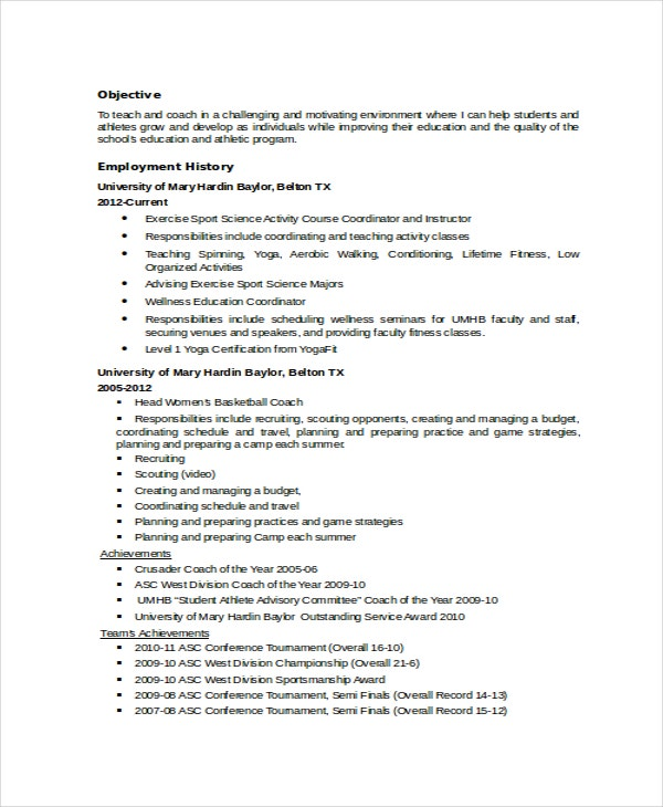 Coach Resume Template - 6+ Free Word, Pdf Document Downloads