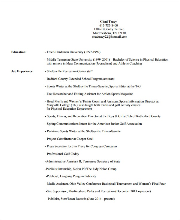 Coach Resume Template   Free Word Pdf Document Downloads