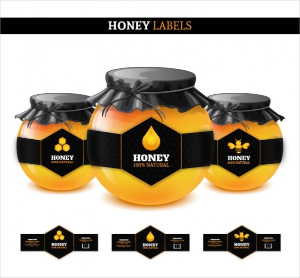 Honey Labels Free Vector