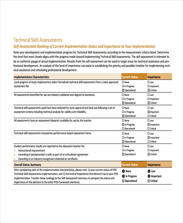 Technical Essment Template | Skills Assessment Template 9 Free Word Pdf Document Downloads