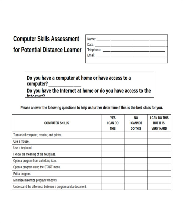Computer Skills Assessment Template