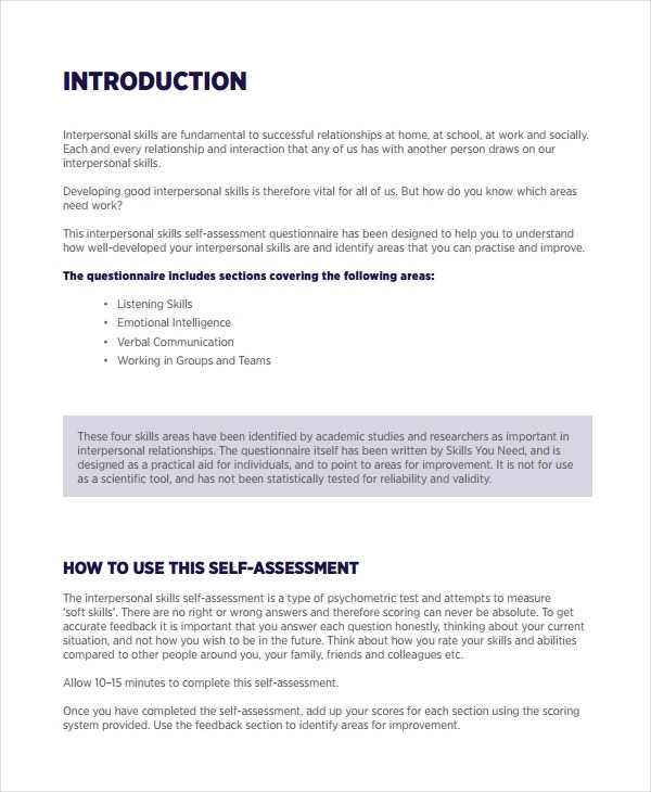 Interpersonal Skills Self Assessment Template