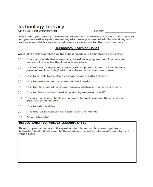 Skills Assessment Template   Free Word Pdf Document Downloads