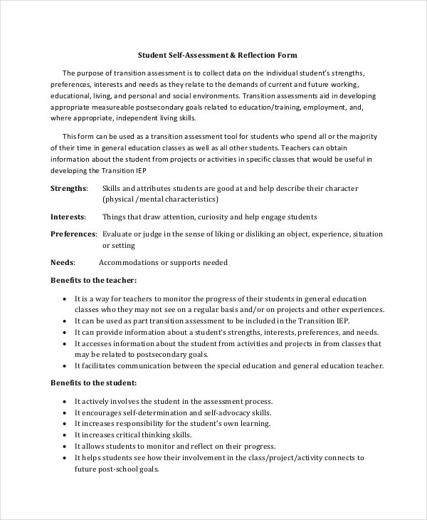 Student Self Assessment Template