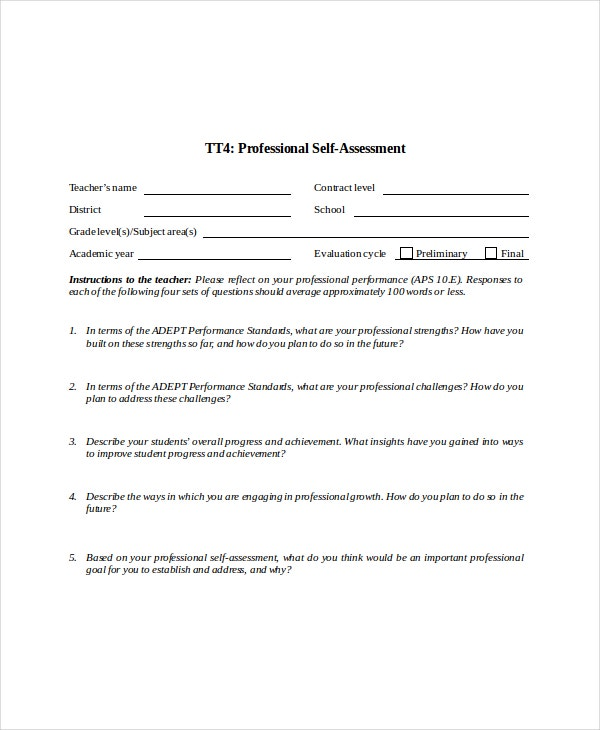 Self Assessment Template   Word Pdf Documents Download  Free