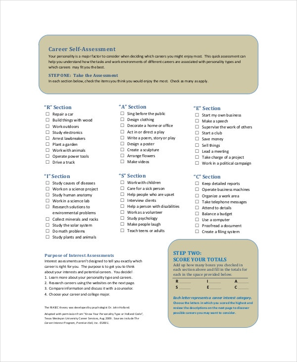 career self assessment template - Should You Make A Career Change Do Self Assessment And Analysis Before Deciding