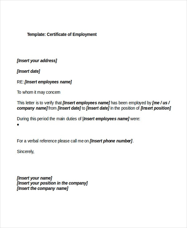 certification of employment sample
