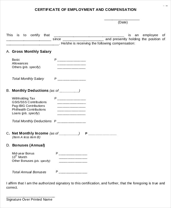 22 sample certificate of employment templates free