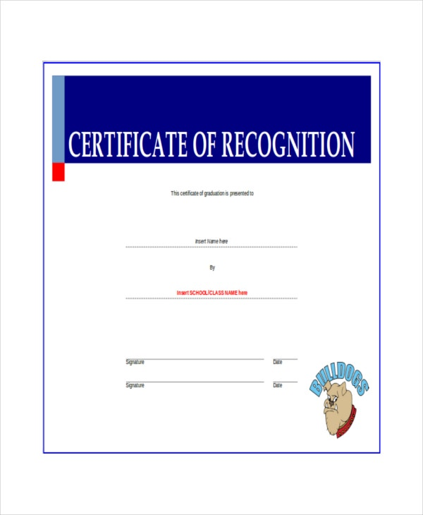 14 certificate of recognition templates free sample