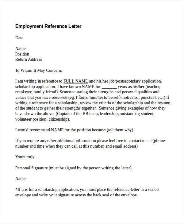 8 Employment Reference Letter Templates Free Sample Example – Examples of Reference Letters for Employment