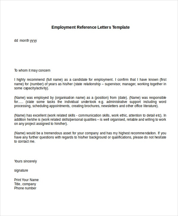 8 Employment Reference Letter Templates Free Sample Example – Template Letter of Recommendation for Employment