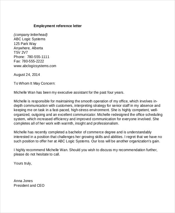 8 Employment Reference Letter Templates Free Sample Example – Reference Letters