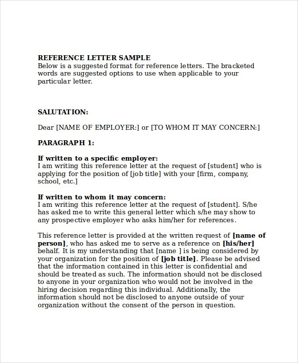 reference in a letter