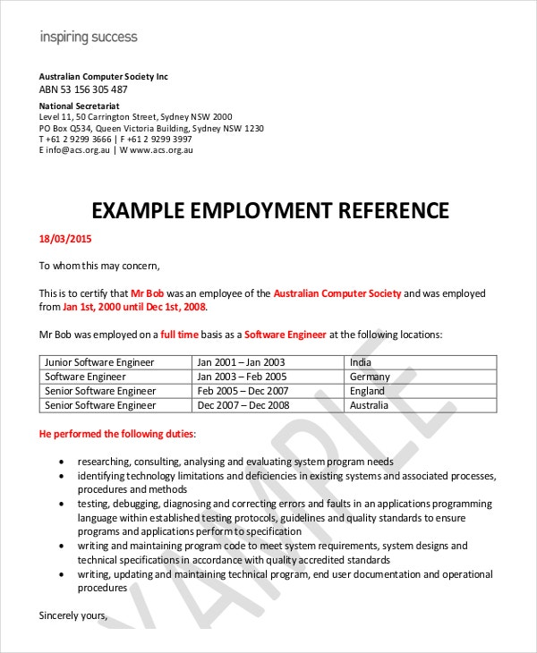8 Employment Reference Letter Templates Free Sample Example – Employment Reference Letter