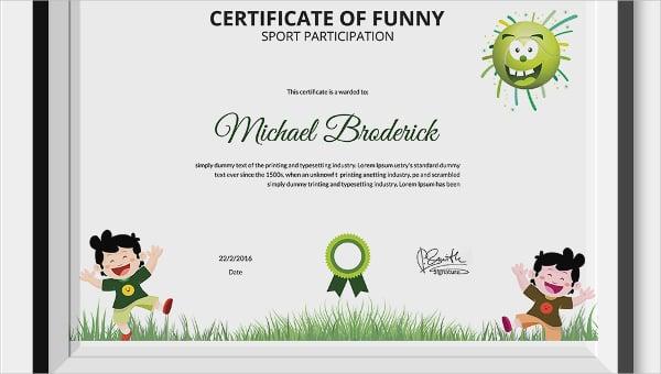 certificateoffunnysports