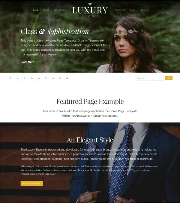 Organic Fashion & Wedding WordPress Theme