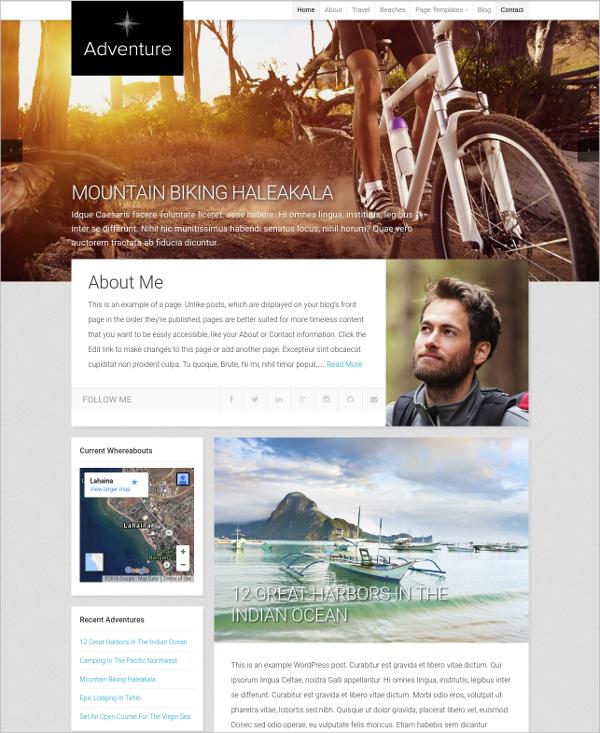 Organic Adventure Travel WordPress Theme $69