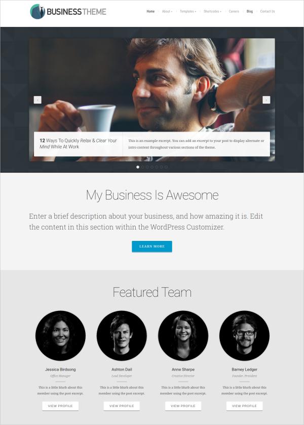 Organic Business WordPress Theme $69