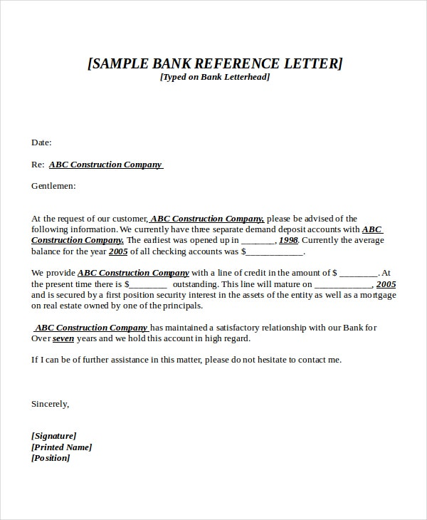 bank reference letter sample