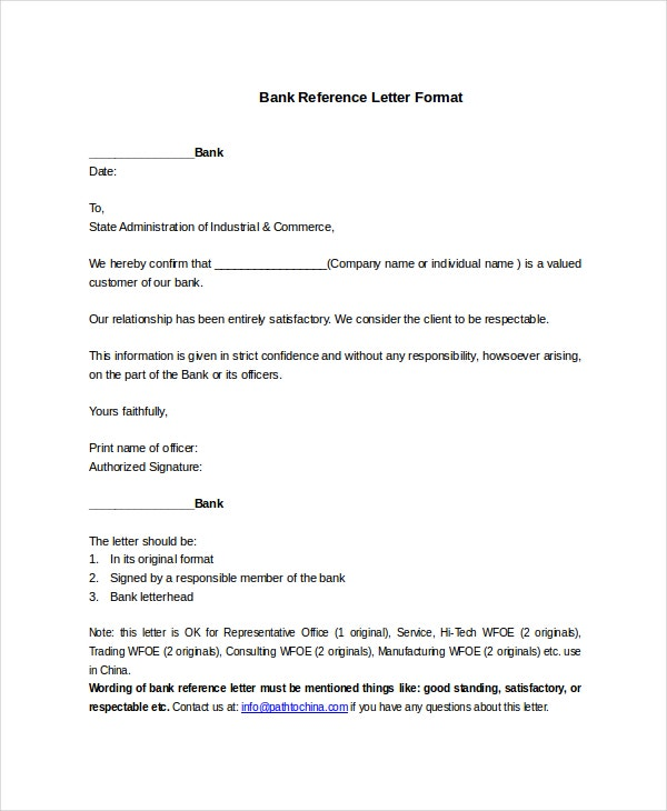 Bank Reference Letter Format Template  Format Letter Of Reference