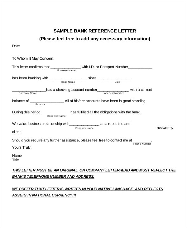 Letter Format Used In Banks. Sample Bank reference letter PDF 7  Reference Letter Templates Free Example Format