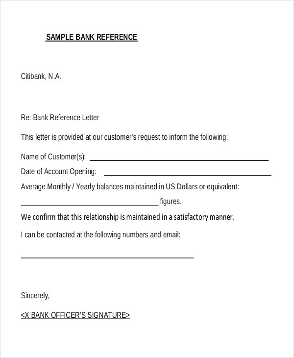 8  sample bank reference letter templates