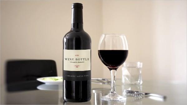 red wine bottle scene mockup