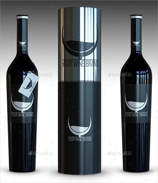 Free Collector's Black Bottle of Wine Mockup