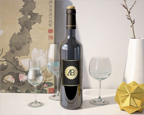 Realisitc Wine Bottle Mockup