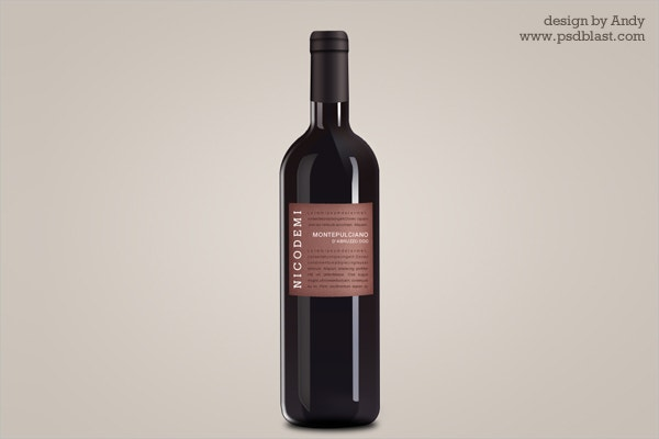 Wine Bottle Free PSD Mockup