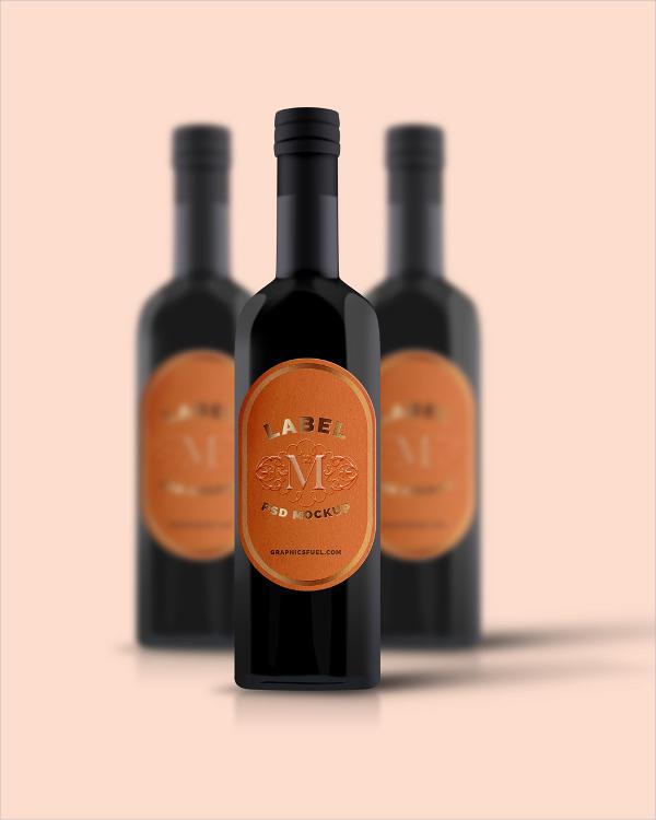 wine bottle mockup vector